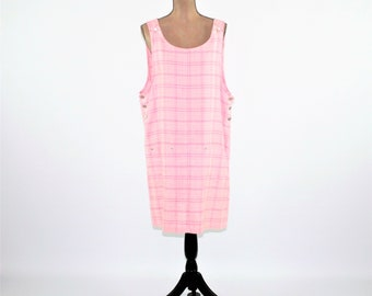 80s 90s Pink Plaid Jumper Dress Women Large Cotton Linen Summer Dress Plaid Dress Pink Dress Midi Dress Vintage Clothing Womens Clothing
