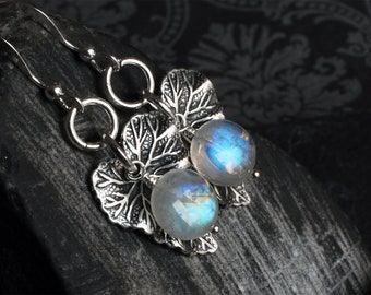 "Moonstone Earrings - Moonstone Jewelry - Rainbow Moonstone - Leaf Earrings - Sterling Silver - June Birthstone - CircesHouse - ""Moon Leaves"""