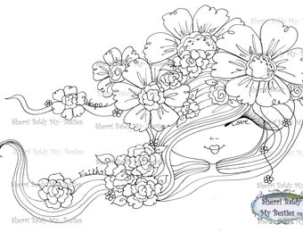 INSTANT DOWNLOAD Digital Digi Stamps Big Eye Big Head Dolls NEW My Besties img078 Bloomin Bestie By Sherri Baldy