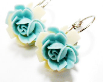 Teal Cream Earrings Leverback Flower Earrings with a soft Teal Lily on an Ivory leaf Two Tone Water Lily Flower Closed Earrings