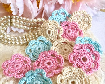 Crochet Flowers, Shabby Flowers, Wedding Flowers, Appliqués, Pale Flowers, Embellishments,