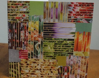 Patchwork lines design, paper collage, handmade, blank inside, Greetings Cards, made in UK