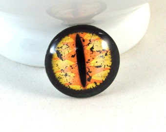 30mm Yellow Dragon Glass Eye for Pendant Jewelry Making or Taxidermy Fantasy Doll Eyeball Flatback Circle