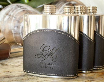 Personalized Flask, Monogrammed Leather Flask, Custom Engraved Flask: Father's Day, Gift for Him, Groomsmen, Stocking Stuffer