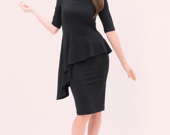 Mia - Asymmetrical Peplum Dress - knee length with 3/4 sleeves in black - cocktail dress - modest dress - modal jersey - little black dress