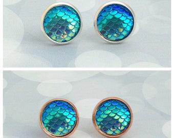 Aqua Blue Mermaid Earrings, Mermaid Scale Studs, Dragon Scale Earrings, Blue Earrings, Dragon Accessories, Mermaid Gift, Fantasy Gift