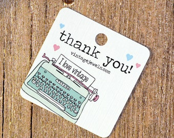 Vintage Typewriter Thank You Gift Tags - Packaging - Wedding - Party - Shower