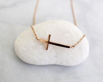 Dainty Rose Gold Side Way Cross Necklace,Rose Gold Cross Necklace, Gift for Best Friends,Birthday Gift-3009