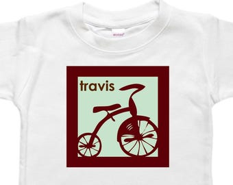 Personalized Baby Bodysuit - Custom Shirt- Baby Gift - Tricycle Bicycle Trike