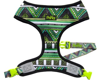 Reversible Breathable Dog Harness by Printz Pet Supply- Grasshopper