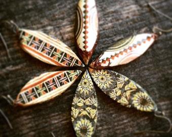 Shield Earrings,Tribal Earring,Tribal Pattern Earrings,Tribal Shield Earrings,Ethnic Earrings,Dangle Earring,African Pattern Earring,Boho