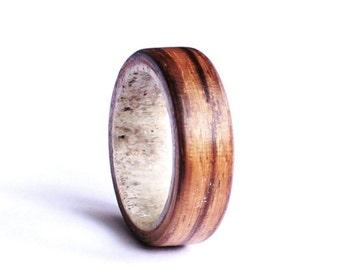 Antler Men Ring, Zebrano wood  Wedding band, Unisex Ring