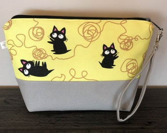 Knitty Kitty Project Bag, Zip Pouch, Knitting Project Bag, Zipper Bag, Knitting Pouch