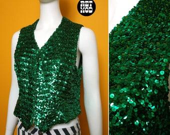 Sparkly Vintage 60s 70s Green Sequin Retro Vest