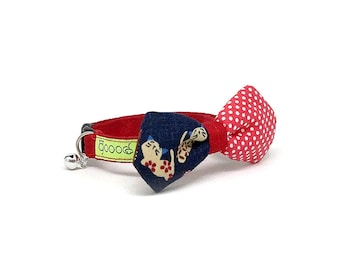 GOOOD Cat Collar   Mighty Angled Bow - Classic 50's   100% Pattern Black & Red Fabric   Safety Breakaway Buckle