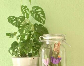 Botanische kunst. Glazen pot met een textile wereld. Handgemaakt in Lente thema