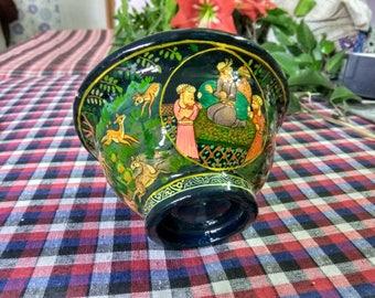 Paper Mache Bowl,  Bowl Home Decor, Decorative Bowl, Organic Art, Handmade Bowl, Paper Mache, Gift Item, Home Decoration, Deer on Bowl