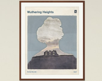 """Emily Brontë """"Wuthering Heights"""" - Medium Minimalist Literary Book Cover Print, bookish gift, Classic Literature Poster, Digital Download"""