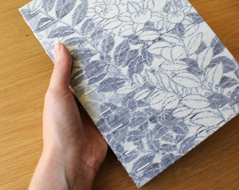 Large Tall Floral Vintage Kimono Silk Hardcover Guest Book - Coptic Binding