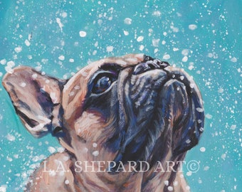 FRENCH BULLDOG art portrait canvas PRINT of LAShepard painting frenchie dog 8x10""