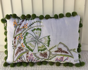 Embroidered Pillow with Pom-Pom Trim