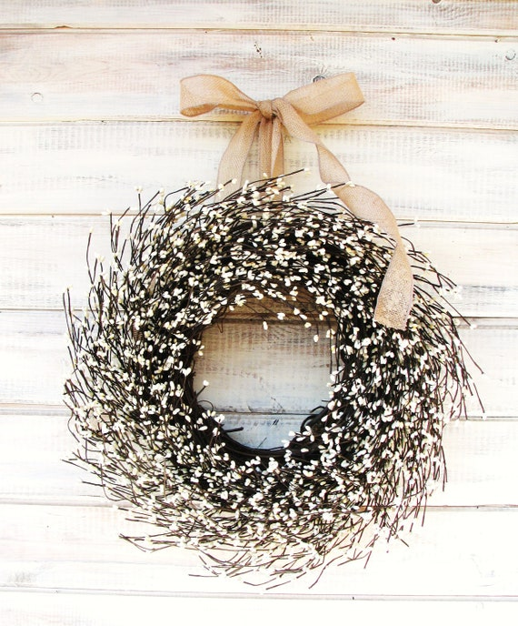 Nice Farmhouse Decor Spring Wreath Summer Wreath Door Wreath Year Round Wreath BURLAP  U0026 ANTIQUE WHITE Door Wreath Farmhouse Home Decor