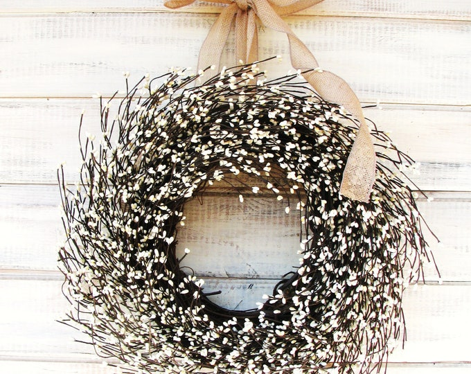 Featured listing image: Farmhouse Decor-Spring Wreath-Summer Wreath-Door Wreath-Year Round Wreath-BURLAP & ANTIQUE WHITE Door Wreath-Farmhouse Home Decor