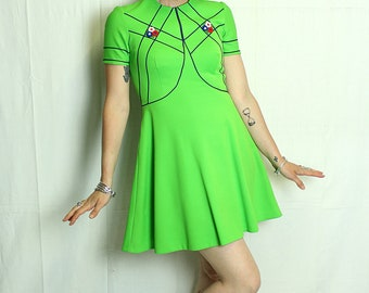 Vintage 70s green neon flowers skater dress