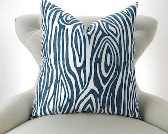 Wood Grain Pillow Cover -MANY SIZES- Faux Bois navy blue white Willow decorative throw euro sham cushion modern contemporary premier prints