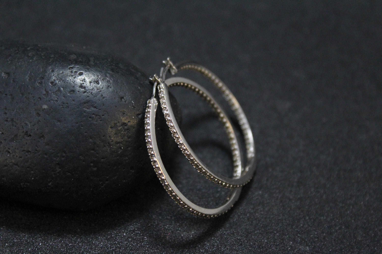 Sterling Silver Cz Circle Hoop Earrings Large Sterling Cubic