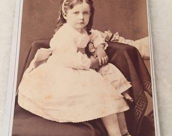 Sweet Antique Photo CDV Cabinet Card Light Eyed Beauty Holding Doll Hidden Mother Hand