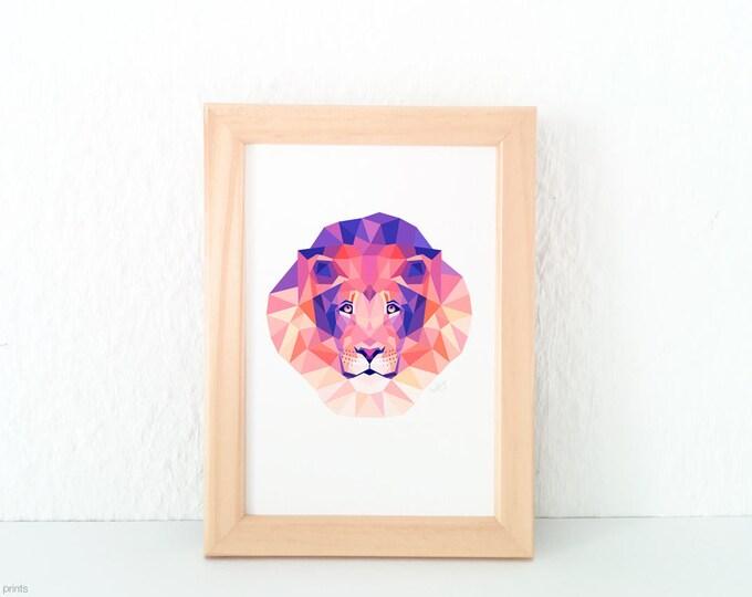 Lion portrait, African animal art, Savannah wildlife, Geometric lion face, Modern animal art, Contemporary animal art, Pink and purple print