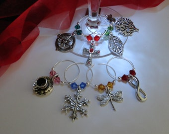 Scotland Inspired Wineglass Charms, Set of 8 for all Books, Large & Small available