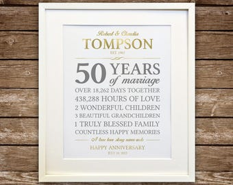 Golden Wedding Anniversary Gift, 50th Anniversary Printable, Anniversary Gift for Parents, Couple Love Stats Gift