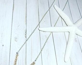 V Shaped Pink Swarovksi Crystal Necklace
