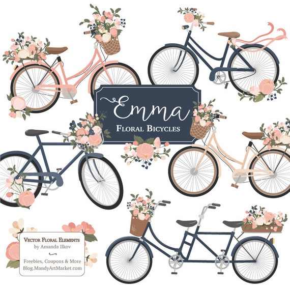Emma Floral Bicycle Clipart Vectors In Navy And Blush