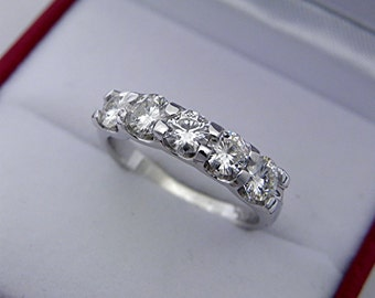 AAAA Moissanite Forever Brilliant Five stone anniversary band. 4mm 14K white, yellow or rose gold. MMM
