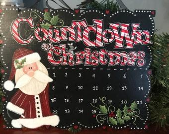Countdown, Countdown to Christmas, Laurie Speltz, Santa, Christmas, Candy Cane, Calendar, free shipping