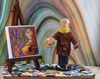 Pablo Picasso-  Miniature Sized-  Artist With Easel-  Diorama Art-  Spanish Painter- Shelf Decor -