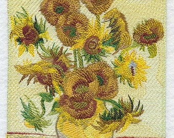 Vincent Van Gogh Sunflower Embroidered Flour Sack Hand/Dish Towel