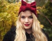 Ruby Knitted Bow Headband, Knitted Headband, Oversized Bow Headband, Cute and Cosy Ear Warmer, Burgundy Red Bow Headband
