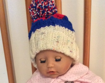 Baby bobble hat hand knitted