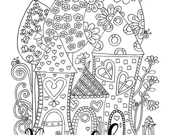 Tiny Town, 1 Adult Coloring Book Page, Printable Instant Download.