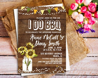 I do bbq, I do bbq invites, rustic I do bbq invitation, couples shower engagement party, I Do Bbq Invitation Printable, sunflower invitation