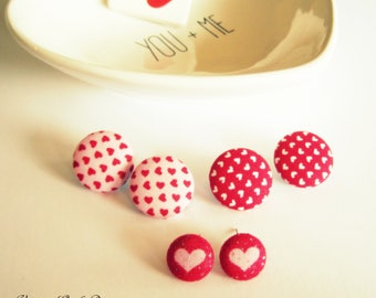 Big Button Earrings, Valentine Big Button Earrings, Heart Earrings, Valentine Jewelry, Valentine Earrings, Heart Jewelry, Statement Earrings
