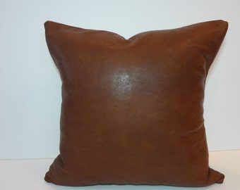 Genuine African Lambskin Leather Pillow Cover, Chestnut Brown Leather Cushion Cover, 2- sided, 18 x 18