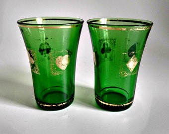 Vintage Cordial Shot Glasses Italian Emerald Forest Green Gold Trim Card Suit Design Diamond, Spade, Club, Heart Retro Barware Bud Vase