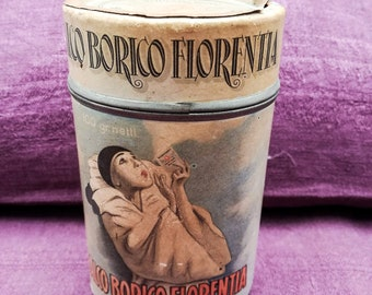 Antique Italian talcum cardboard can from Florence, antique talcum box, talco Borico Florentia, original Pierrot label, vintage talcum box
