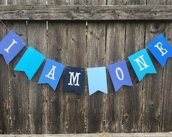 I AM ONE BANNER. Baby birthday banner. First birthday banner. First birthday photo prop.