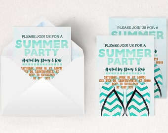 Flip Flop Invitation | Summer Bday Invite, Backyard Summer, Summer Celebration, Pool Party Invite, Barbeque Invitation, BBQ Invitation